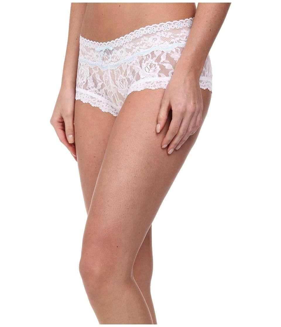 Hanky Panky Annabelle Boyshort White/Baby Blue Womens Underwear