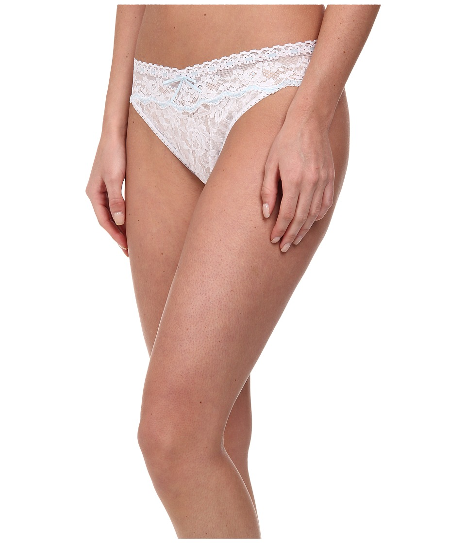 Hanky Panky Annabelle Orignial Rise Thong White/Baby Blue Womens Underwear