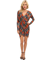 Tbags Los Angeles - L/S Front Knot Dress w/ Deep V-Back Detail