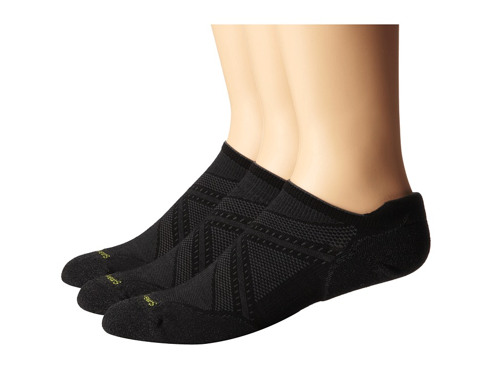 Smartwool - PhD Run Elite Micro 3 Pair Pack (Black) Mens Crew Cut Socks Shoes