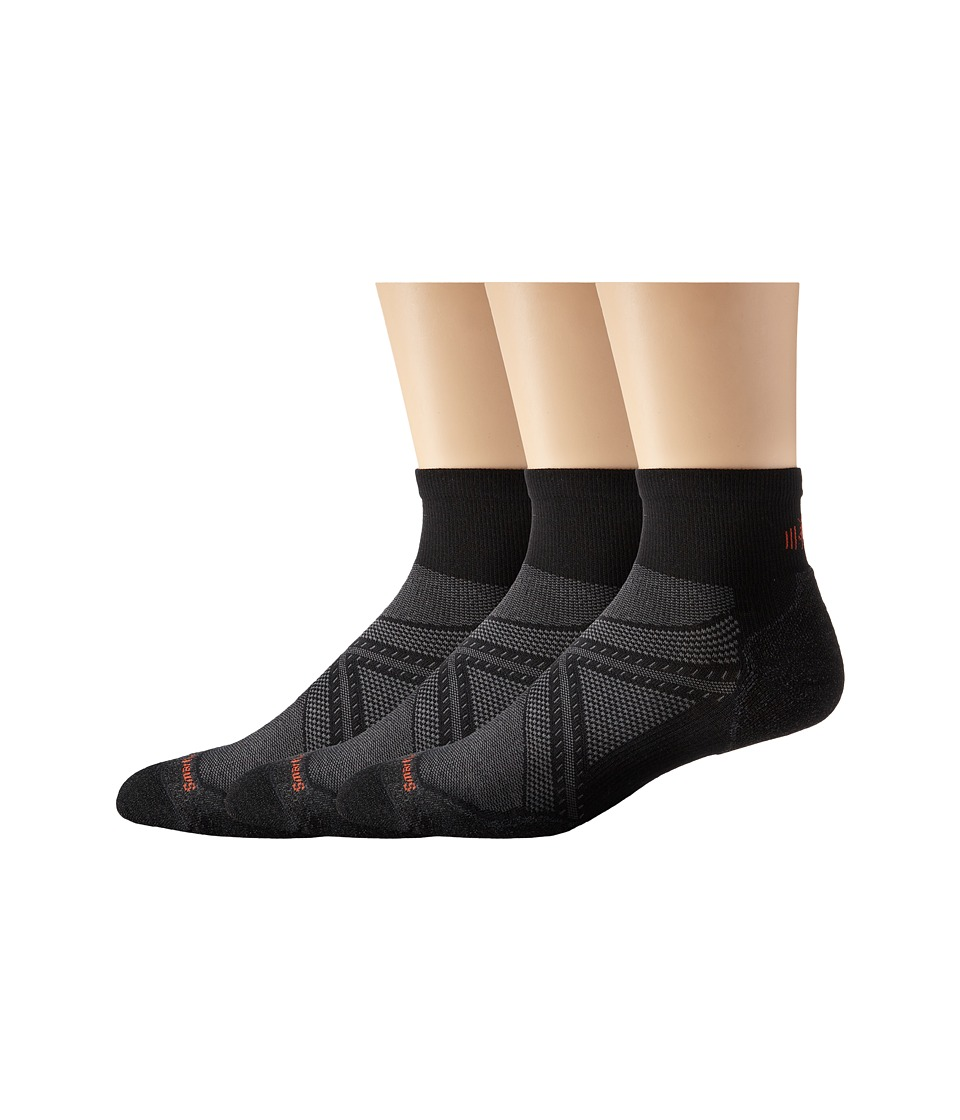Smartwool - PhD Run Elite Mini 3-Pair Pack (Black) Mens Low Cut Socks Shoes