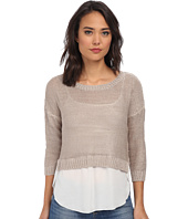 Brigitte Bailey - Sweater w/ Woven Blouse Bottom