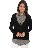 Gabriella Rocha - Sweater w/ Printed Collared Blouse