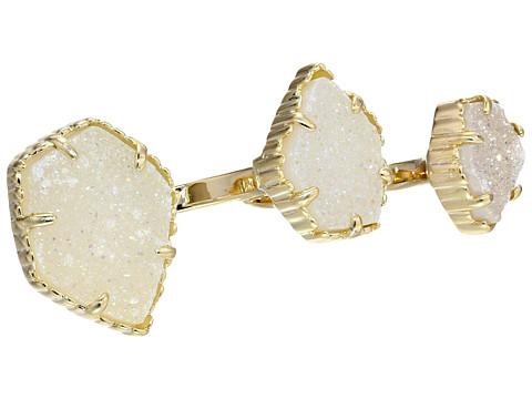 Kendra Scott Naomi Two Finger Ring Adjustable - Gold/Iridescent Drusy
