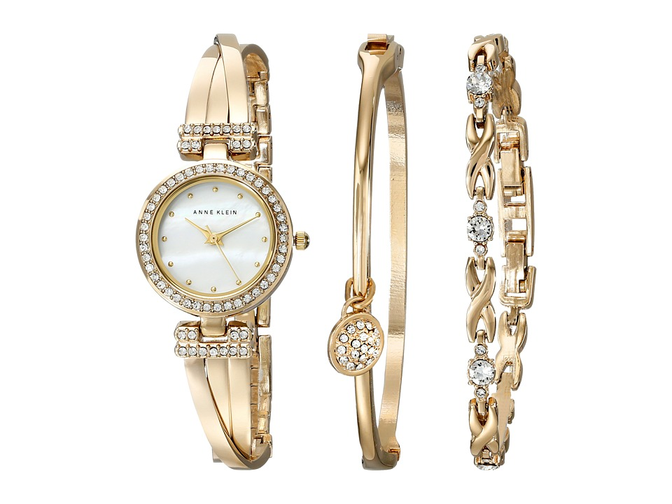 Anne Klein Bangle Watch and Bracelet Boxed Set (Gold-Tone...
