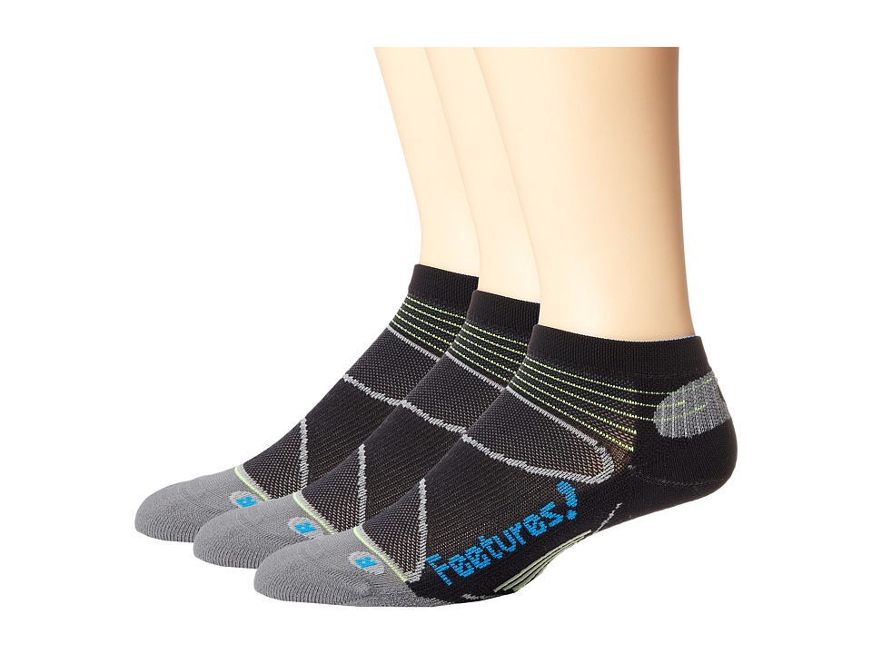 Feetures Elite Light Cushion Low Cut 3 Pair Pack Black/Brilliant Blue Low Cut Socks Shoes