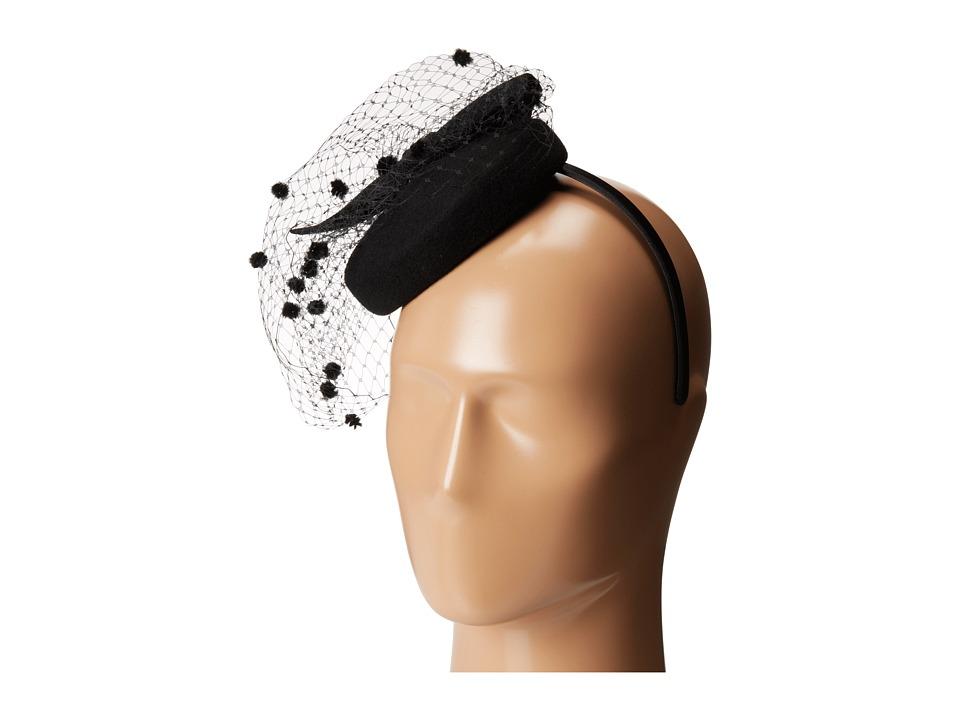 SCALA - Wool Felt Fascinator with Bow Black Caps $40.00 AT vintagedancer.com