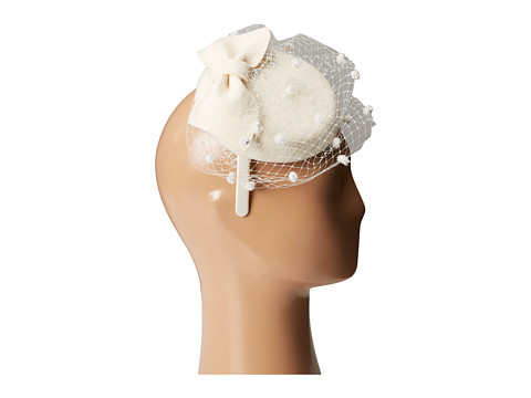 Vintage Inspired Wedding Accessories SCALA - Wool Felt Fascinator with Bow Ivory Caps $40.00 AT vintagedancer.com