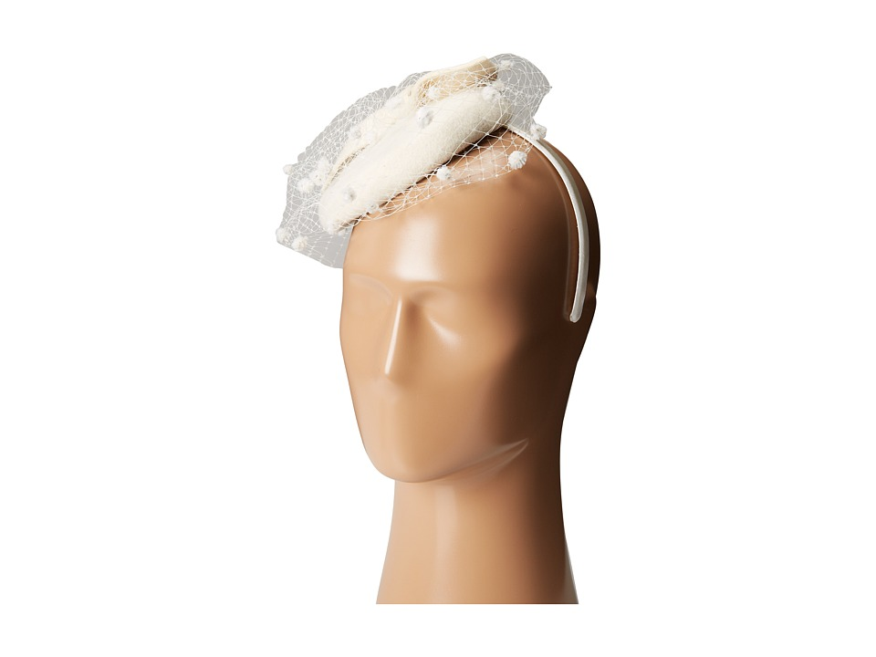 SCALA - Wool Felt Fascinator with Bow Ivory Caps $40.00 AT vintagedancer.com