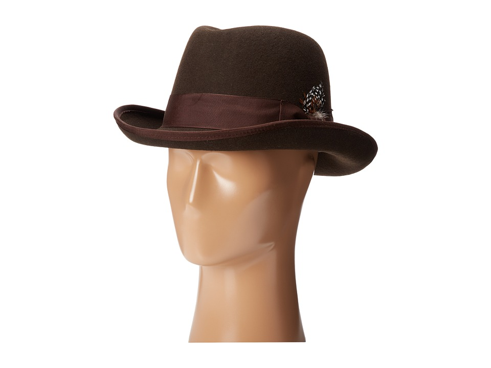 1940s Style Mens Hats Stacy Adams - Homburg Wool Felt Hat w Grograin Band Chocolate Fedora Hats $55.00 AT vintagedancer.com