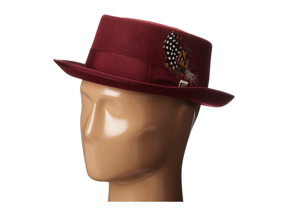1960s Style Men's Clothing, 70s Men's Fashion Stacy Adams - Pork Pie Wool Felt Hat w Grograin Band Burgundy Caps $55.00 AT vintagedancer.com