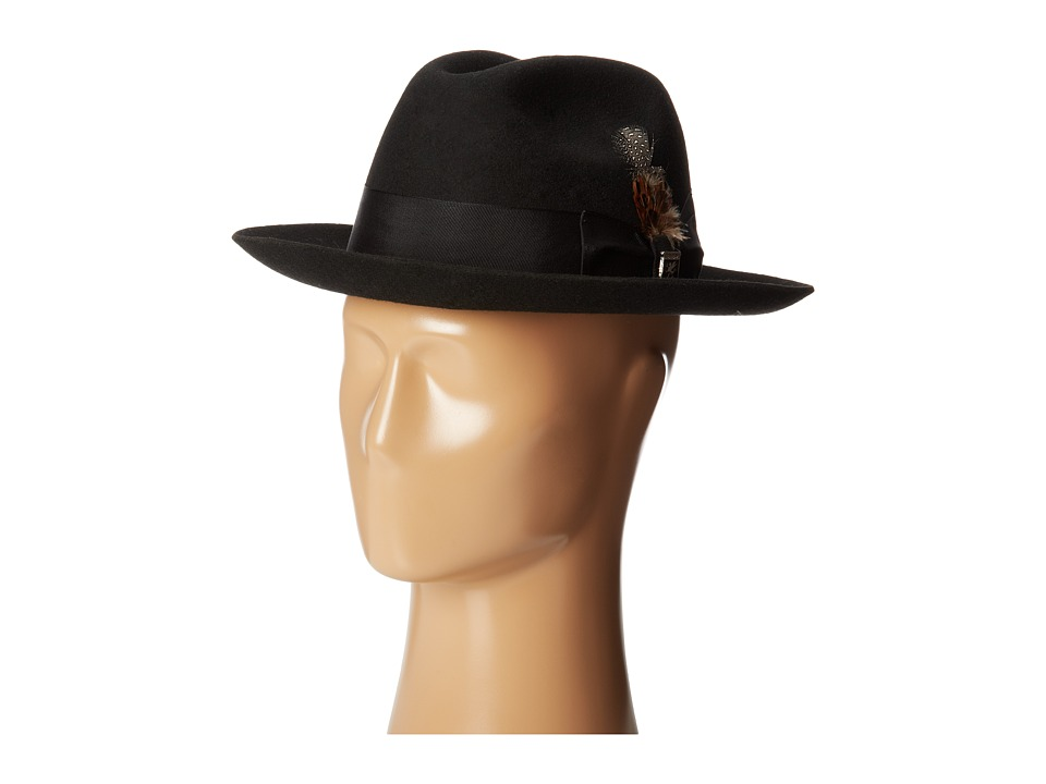 1940s Men's Fashion Clothing Styles Stacy Adams Wool Felt Fedora w Grosgrain Band Black Fedora Hats $55.00 AT vintagedancer.com