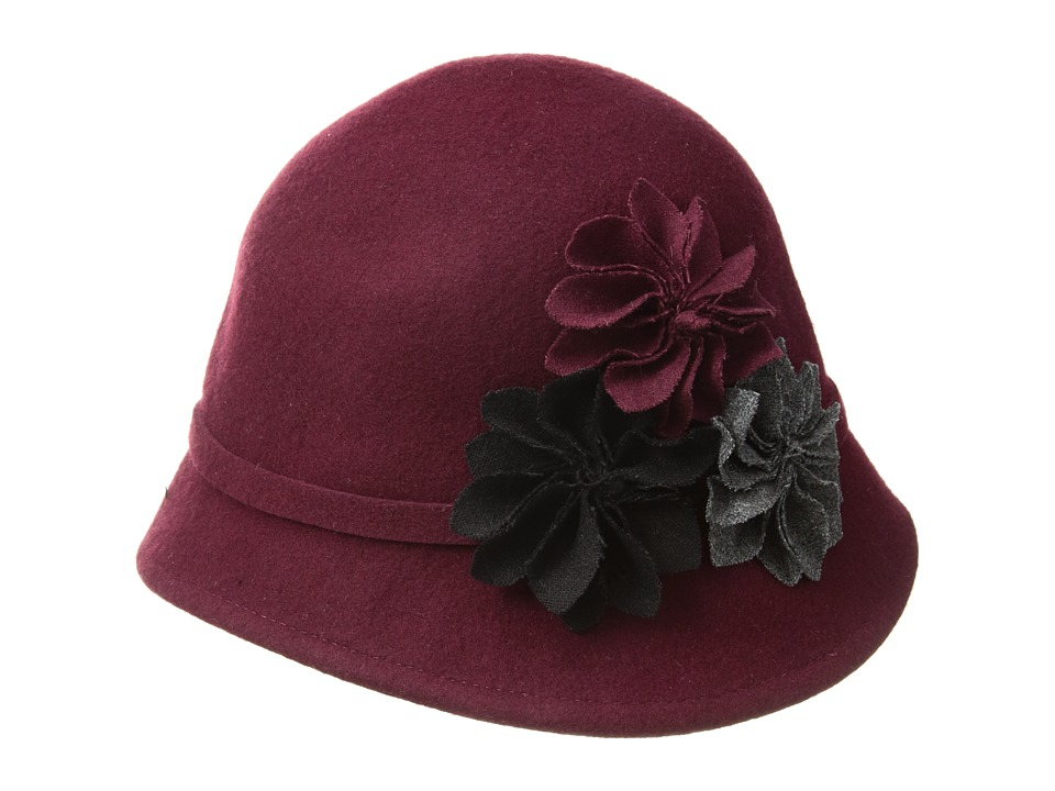SCALA Wool Felt Cloche with Assorted Flowers Burgundy Caps