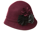 SCALA Wool Felt Cloche with Assorted Flowers (Burgundy)