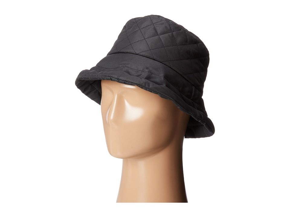 SCALA - Quilted Rain Bucket Hat w/ Fleece Lining (Black) Caps