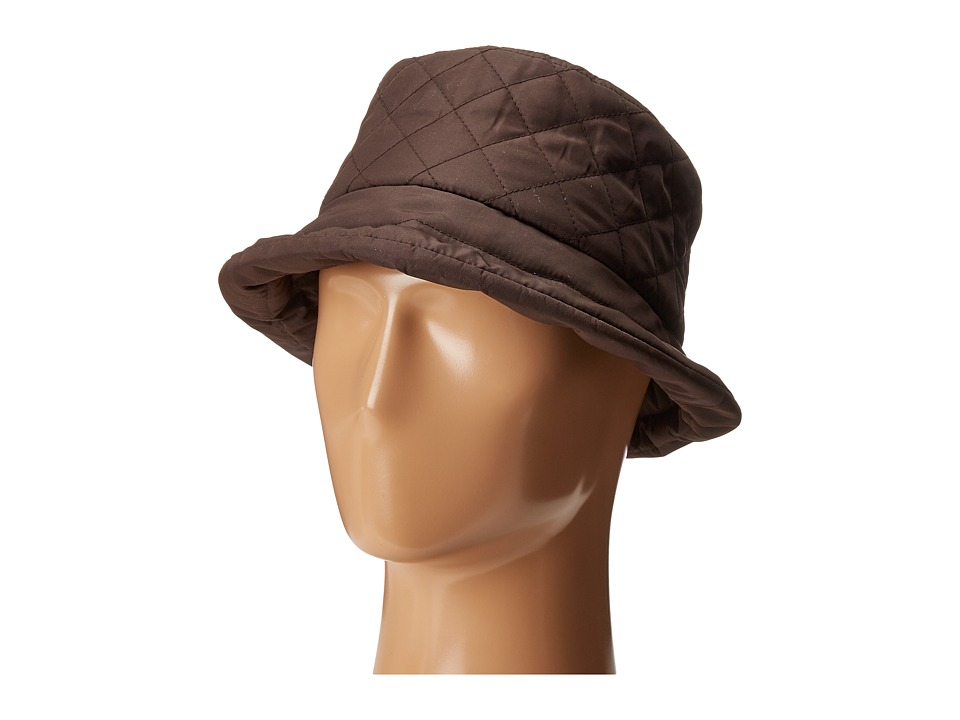 SCALA Quilted Rain Bucket Hat w/ Fleece Lining Chocolate Caps