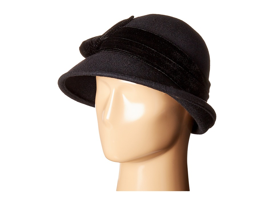 1920s Style Hats SCALA - Wool Felt Cloche w Velvet Trim and Bow Black Caps $32.99 AT vintagedancer.com