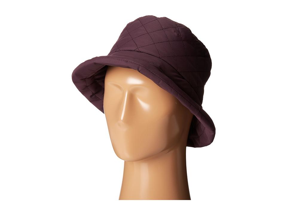 SCALA Quilted Rain Bucket Hat w/ Fleece Lining Plum Caps