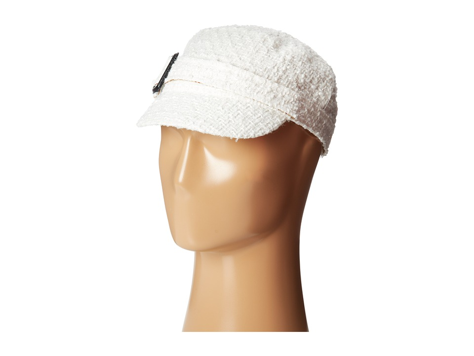 SCALA Textured Lurex Cadet Cap with Buckle Ivory Caps