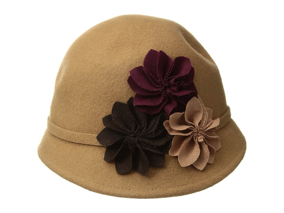 1920s Style Hats SCALA - Wool Felt Cloche with Assorted Flowers Camel Caps $25.99 AT vintagedancer.com