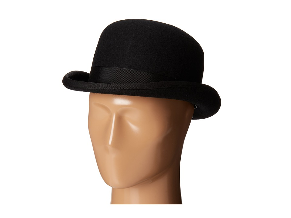 Men's Vintage Style Hats SCALA - Wool Felt Bowler w Grograin Band Black Caps $40.99 AT vintagedancer.com