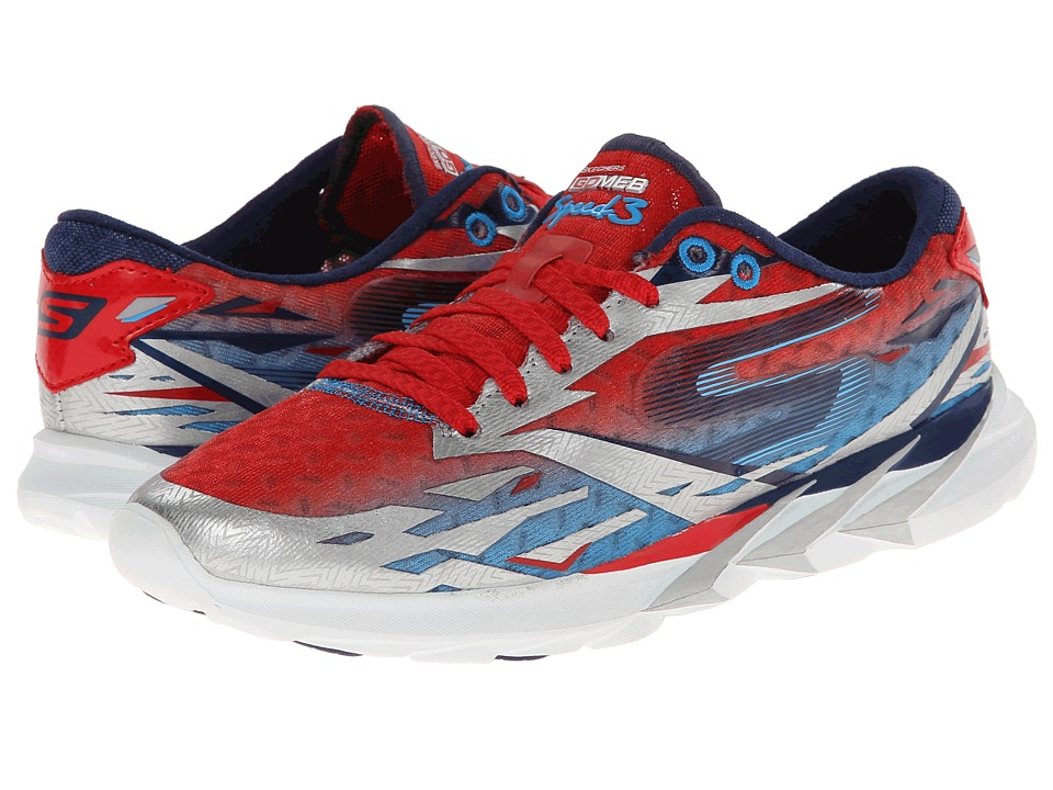 SKECHERS - Go Meb Speed 3 (Silver/Blue/Red) Women's Running Shoes