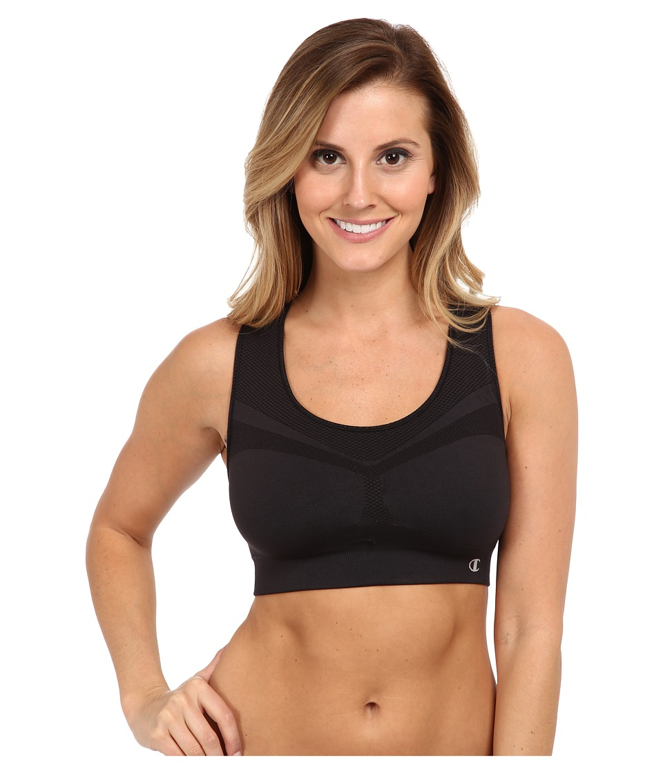 Champion Double Dry(r) Seamless Racer-Back Sports Bra (Black) Women
