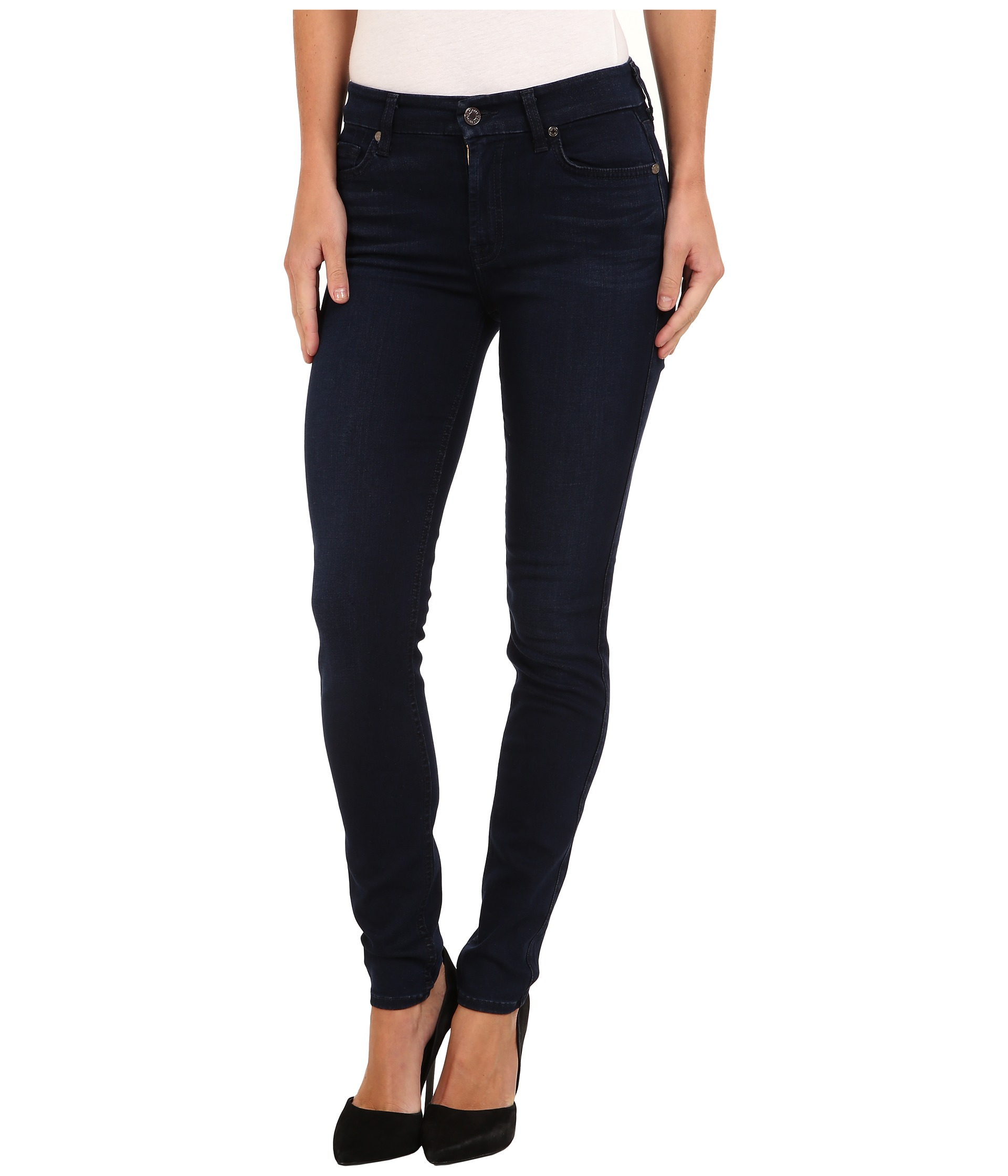 7 For All Mankind Slim Illusion LUXE Midrise Skinny w/ Contour ...