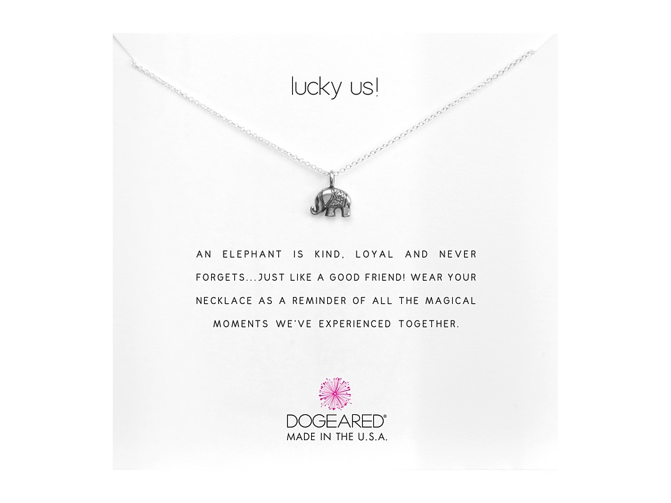 Dogeared Lucky Us Elephant Reminder Necklace Sterling Silver Necklace