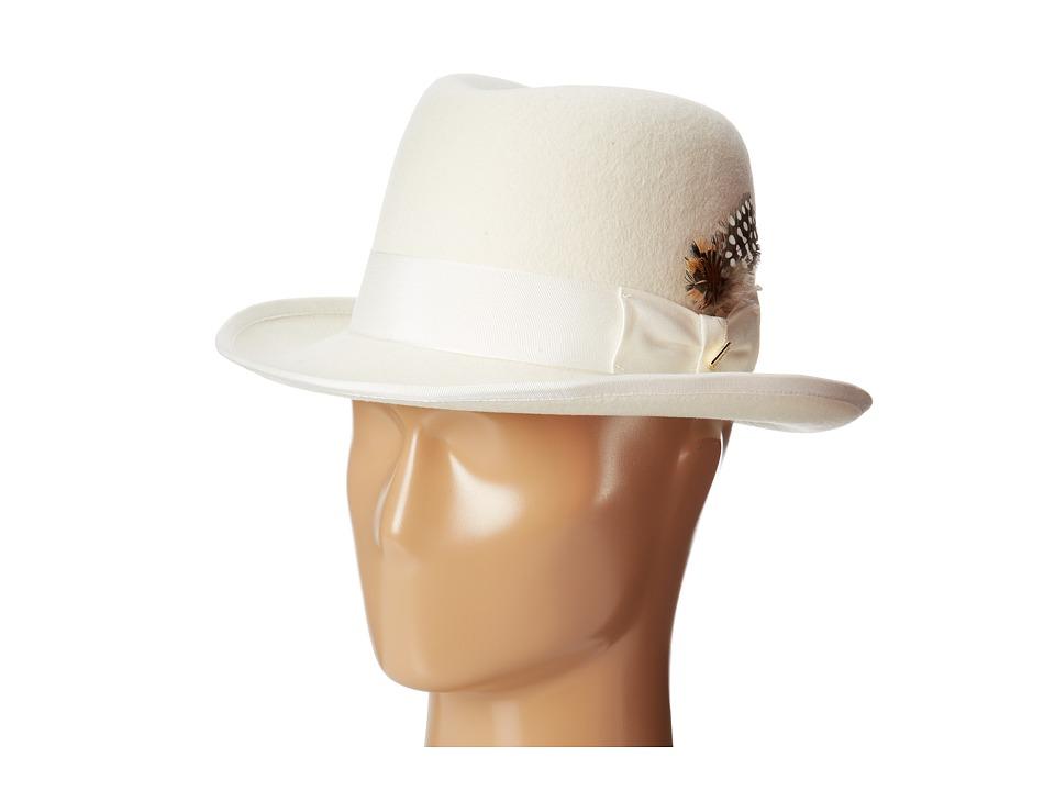 Stacy Adams - Homburg Wool Felt Hat w/ Grosgrain Band (Ivory) Caps