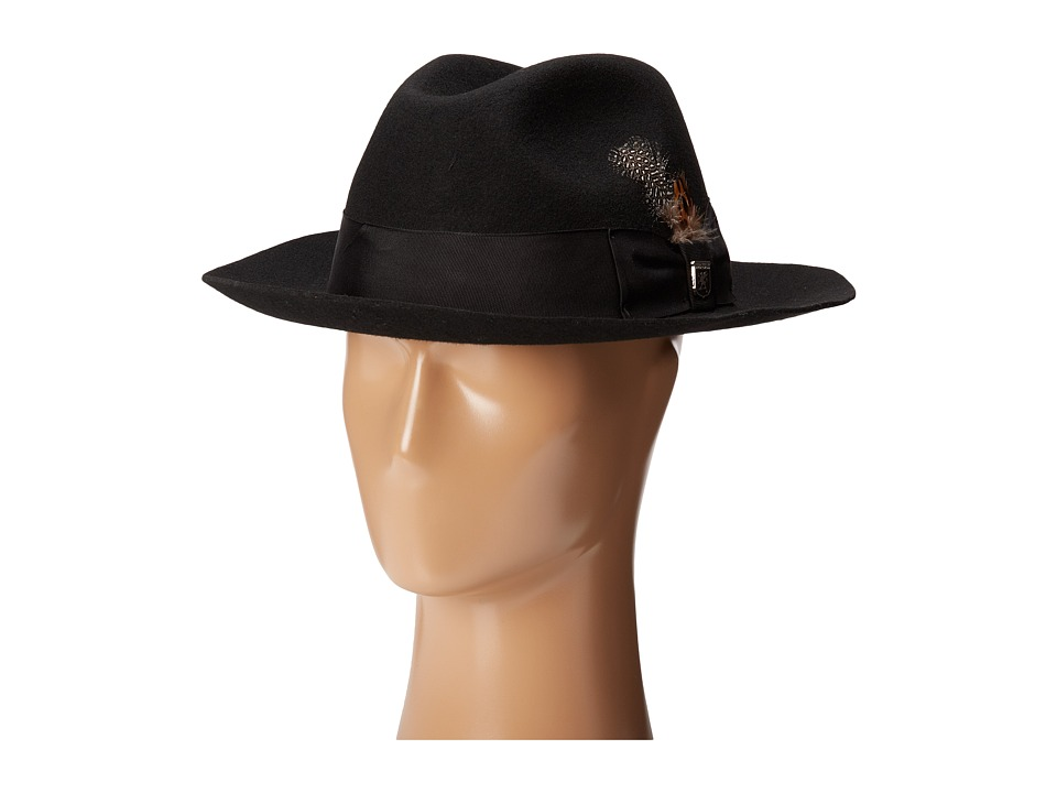 1940s Style Mens Hats Stacy Adams - Wool Felt Fedora w Grosgrain Band Black Fedora Hats $57.50 AT vintagedancer.com