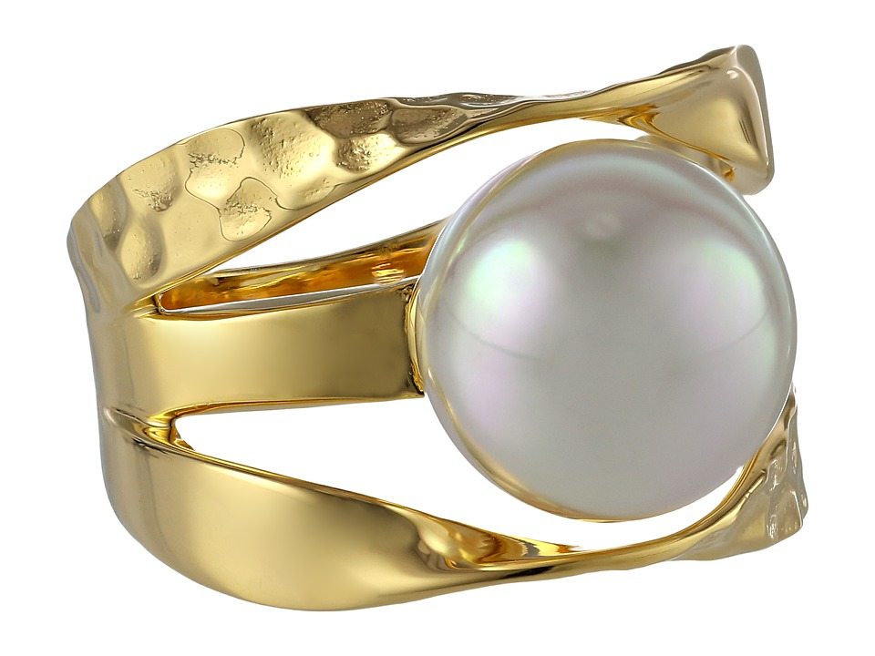 Majorica Ribbon 12mm RD Ring Gold/White Ring