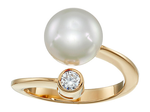 Majorica 10mm Pearl & CZ Wrap Ring - Gold/White