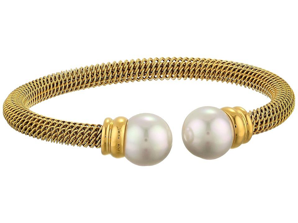 Majorica Steel Bangle Bracelet Gold/White Bracelet