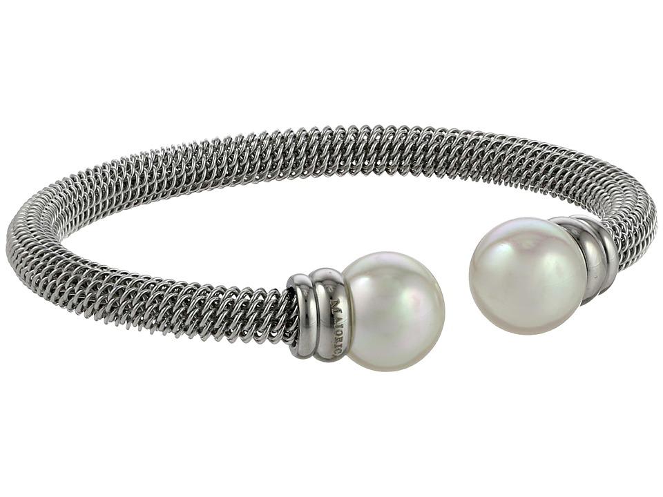 Majorica Steel Bangle Bracelet Silver/White Bracelet