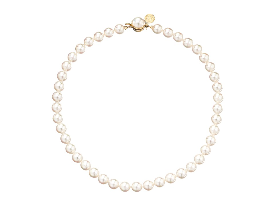 Majorica 1 Row 8mm Pearl Necklace (Gold/White) Necklace