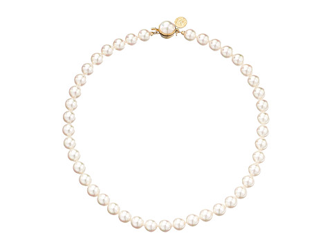 Majorica 1 Row 8mm Pearl Necklace - Gold/White