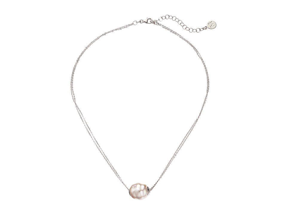 Majorica - 14mm Baroque 2 Row Chain Necklace (Silver/White) Necklace