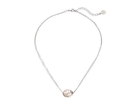 Majorica 14mm Baroque 2 Row Chain Necklace - Silver/White