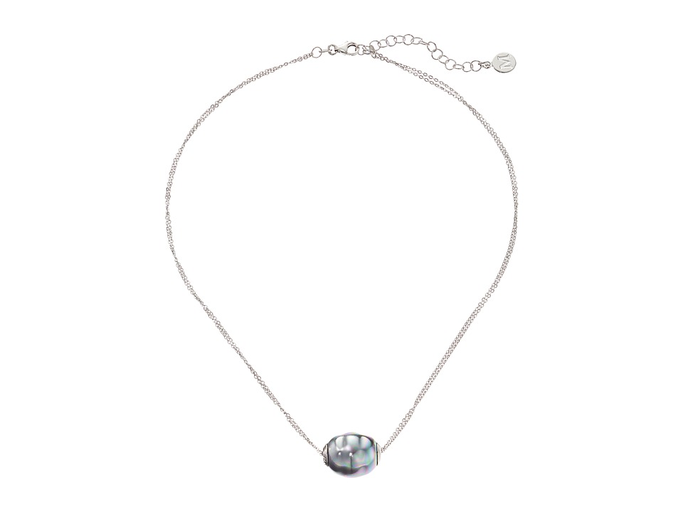 Majorica 14mm Baroque 2 Row Chain Necklace (Silver/Gray) ...