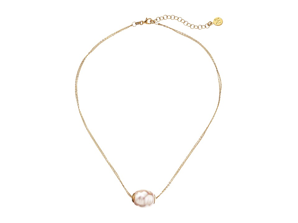 Majorica 14mm Baroque 2 Row Chain Necklace Gold/White Necklace