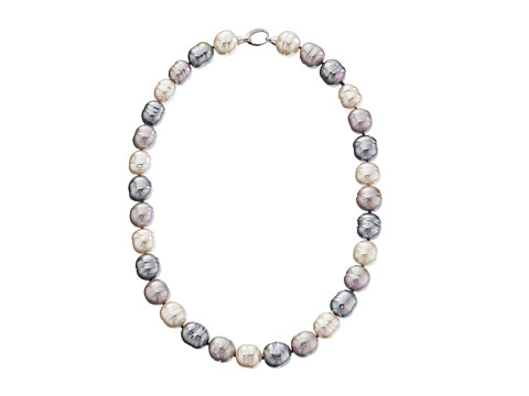Majorica 14mm Baroque SS Necklace - Silver/Multi