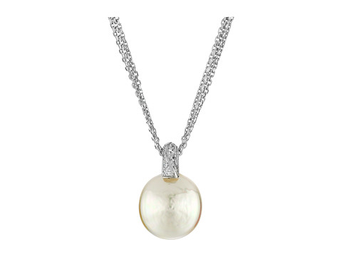 Majorica Coin Pearl Pendant CZ Necklace - Silver/White