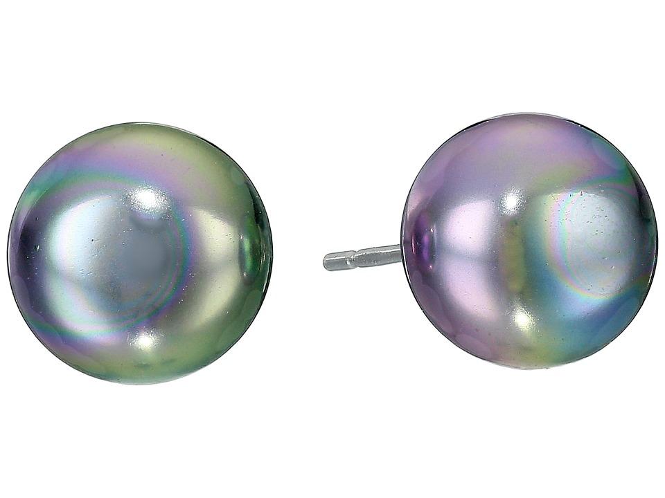 Majorica 10mm Flat Stud Earrings Gray Earring