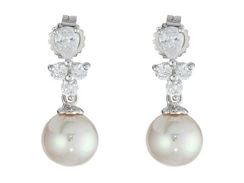 Majorica Pearl Drop w/ CZ Pear Shape Earrings - White