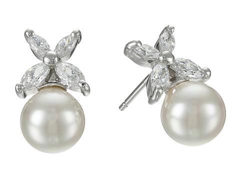 Majorica 8mm Pearl w/ CZ Flower Earrings - White