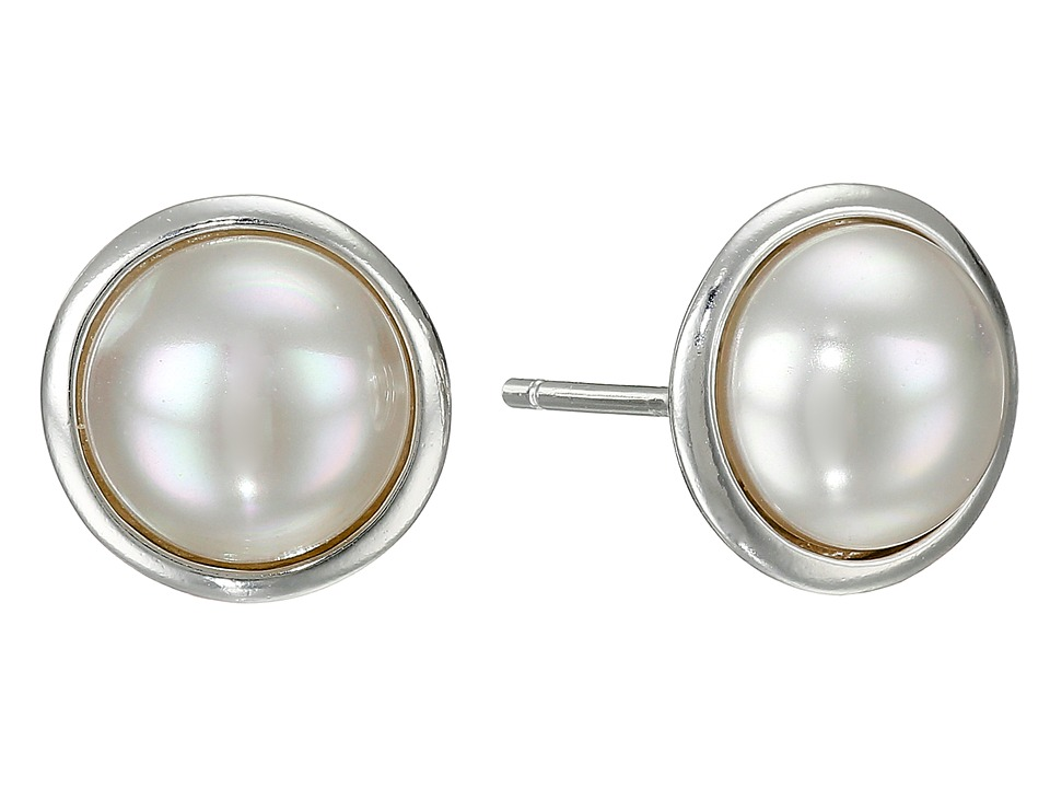 Majorica 8mm Round Mabe On SS Earrings (White) Earring
