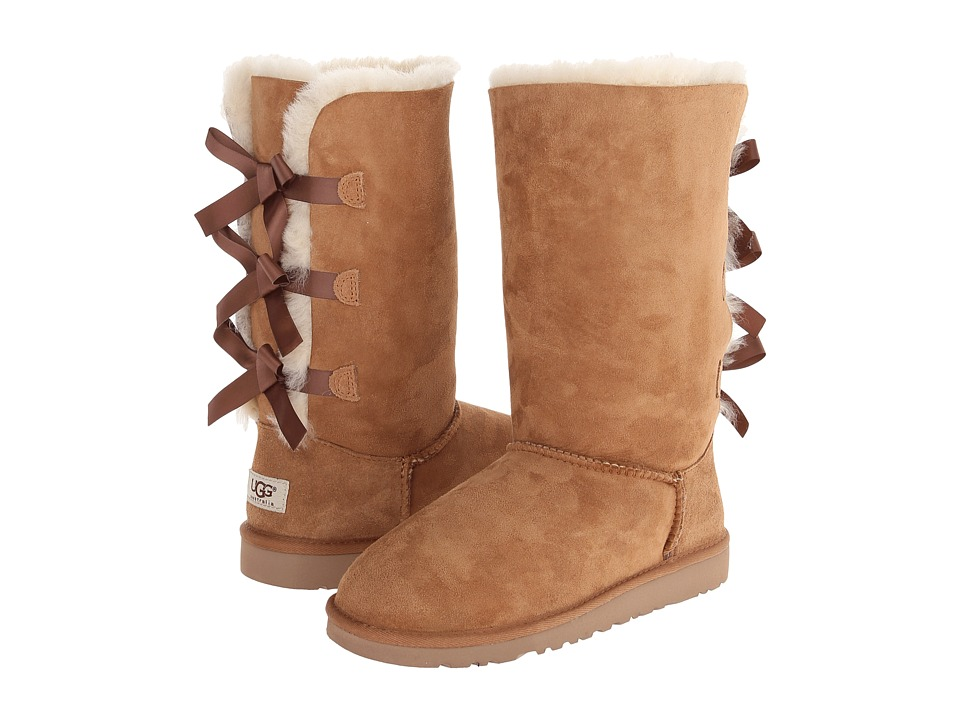 UGG Kids Bailey Bow Tall Big Kid Chestnut Girls Shoes