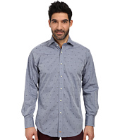 Thomas Dean & Co. - L/S Woven Shirt Polished Chambray w/ Embroidered Pineapples