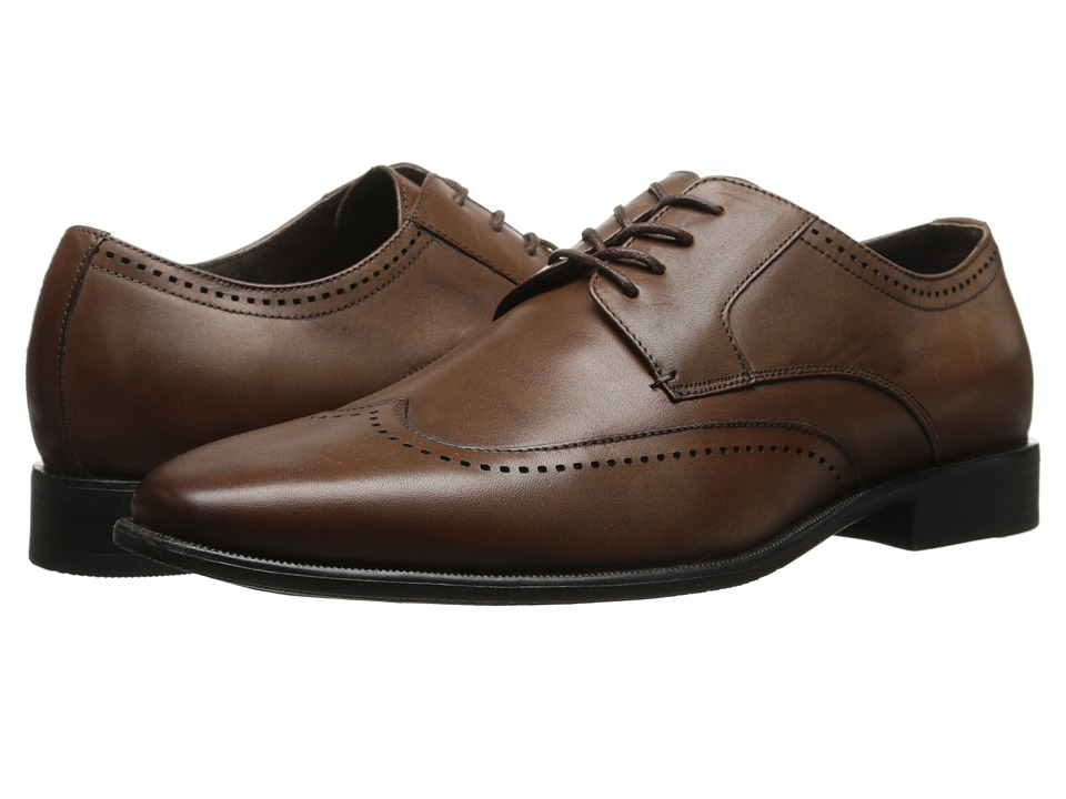 Stacy Adams - Lambert Cognac Mens Lace Up Wing Tip Shoes $90.00 AT vintagedancer.com